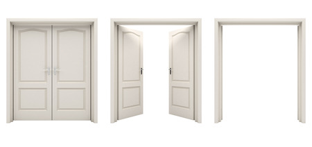 white door: Open white double door isolated on a white background.