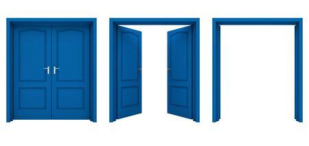 cerrar la puerta: Abre el doble puerta azul aislado en un fondo blanco. Foto de archivo