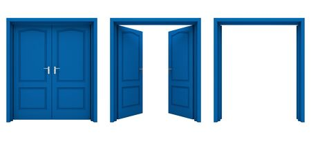 close: Open blue double door isolated on a white background.