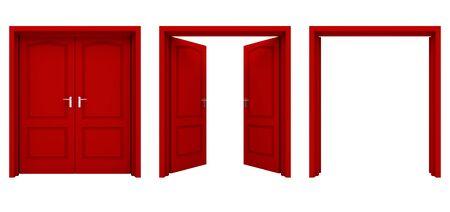 portone: Aprire rosso doppia porta isolato su uno sfondo bianco. Archivio Fotografico