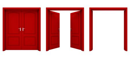 red door: Open red double door isolated on a white background. Stock Photo