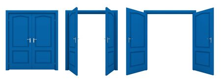 white door: Open blue double door isolated on a white background.