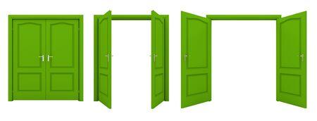 オープン緑の二重のドアは白い背景に分離されました。