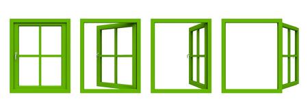 window frame: Green window frame. Stock Photo