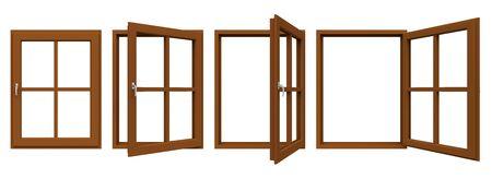 window frame: Brown window frame.