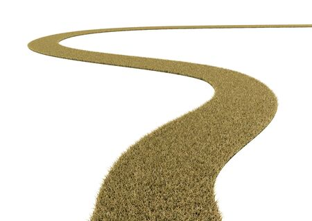 The curved grass road on white background.