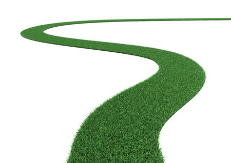 The curved green grass road on white background.