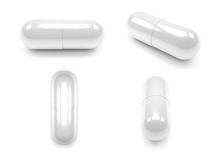 Close up of pills capsule isolated on white background.