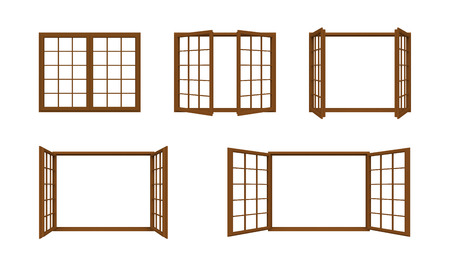 wooden window: wooden window frame isolated on white background. Stock Photo