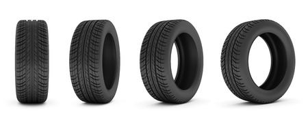 car isolated: Car tire isolated on white background. Stock Photo