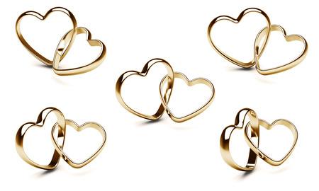wedding heart: Gold heart rings. Stock Photo