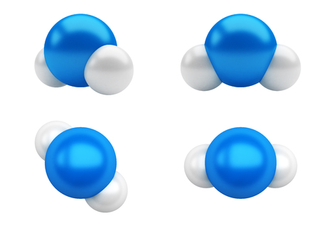 h2o: Chemical structure of a water molecule, H2O