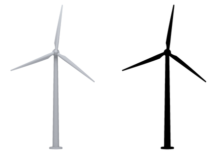 wind turbines isolated on white background. Stok Fotoğraf