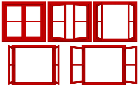 Red window frame isolated on white background.