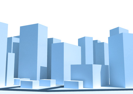 Abstract 3d cityscape. Abstract urban 3d background. Zdjęcie Seryjne