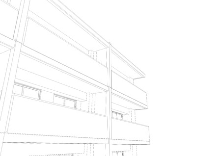 3D Wireframe of building.