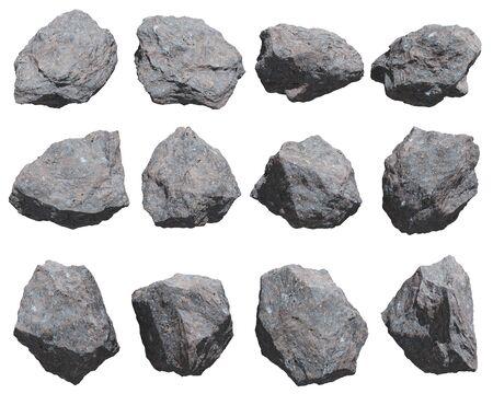 rocks set isolated on white background. 3D Illustration.