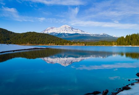 Snowy mountain in Northern California Stock Photo