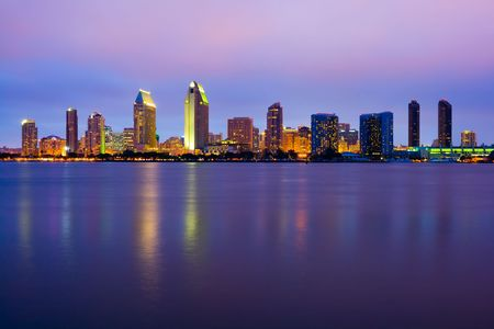 San Diego skyline at night Stock Photo