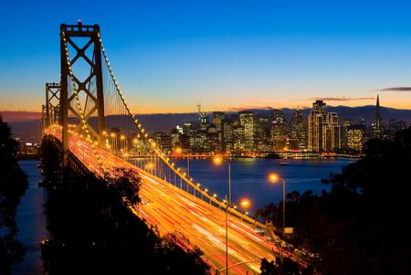 San Francisco and Bay Bridge at night  Stock fotó