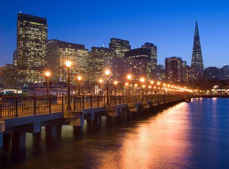 transamerica:  Pier 7 in San Francisco at night