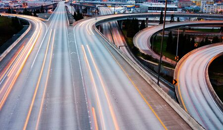 Freeways in Seattle at night Stock Photo - 6129875