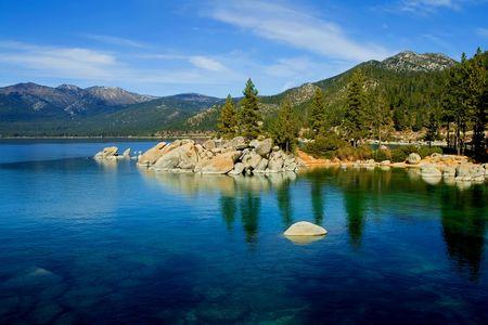 sunset lake: Lake Tahoe Stock Photo
