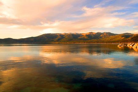 sunset lake: Lake Tahoe at sunset