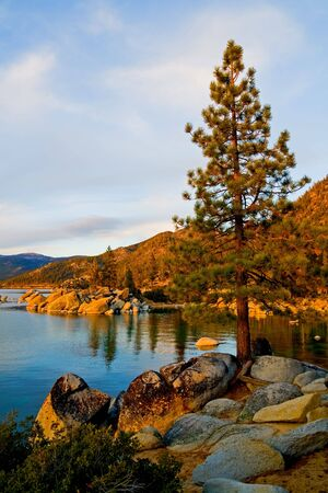 tahoe:   Lake Tahoe after sunset Stock Photo