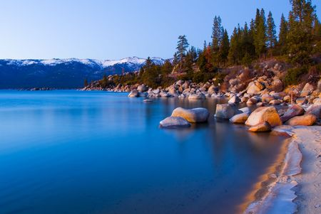 frozen lake:  Lake Tahoe after sunset