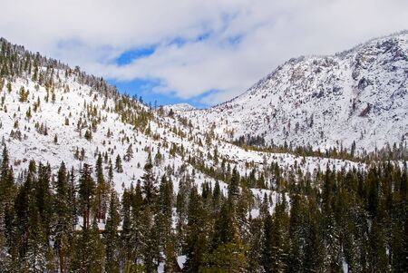 Big snowy mountains next to Lake Tahoe in Winter Stock Photo - 6148730