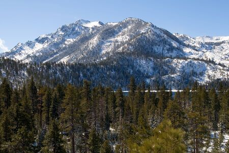 Big snowy mountain next to Lake Tahoe Stock Photo - 6148729