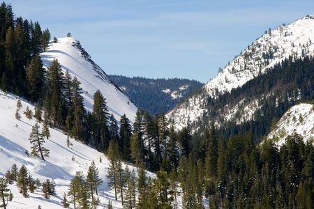 Big snowy mountains next to Lake Tahoe in Winter Stock Photo - 6147133