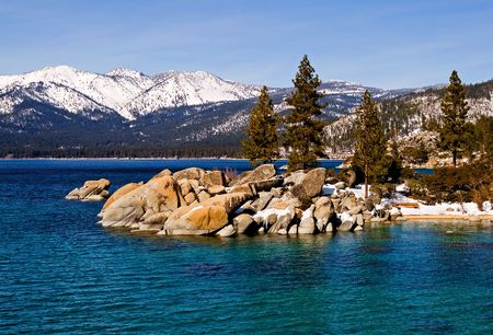 frozen lake: Lake Tahoe in Winter