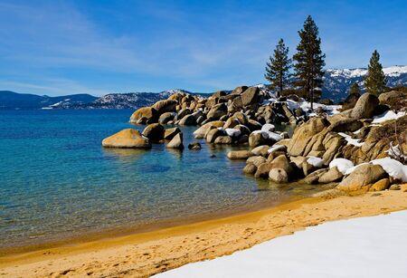 tahoe:  Lake Tahoe in Winter Stock Photo