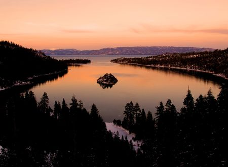 Emerald Bay after sunset, Lake Tahoe  photo