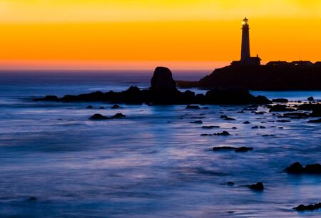 Pigeon Point Lighthouse in California at night right after sunset photo
