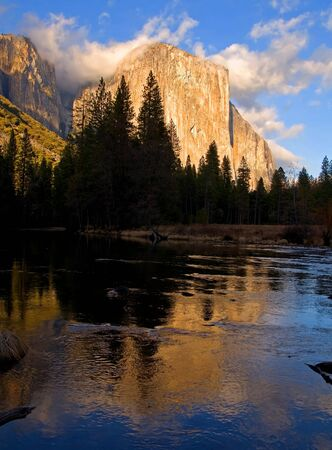 Reflection of El Capitan in Yosemite at sunset photo