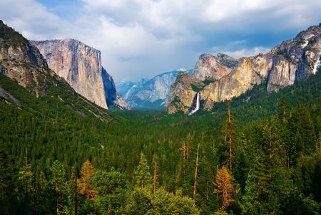 Yosemite Valley with cloudy sky Stock Photo