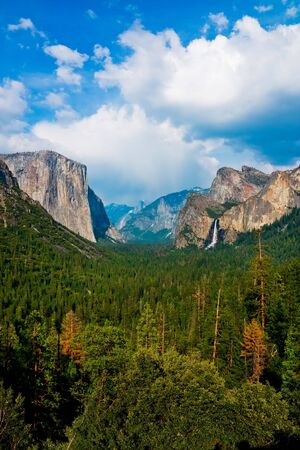 bridalveil fall: Yosemite Valley with cloudy sky