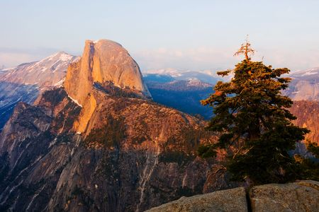 Half Dome at sunset in Yosemite photo