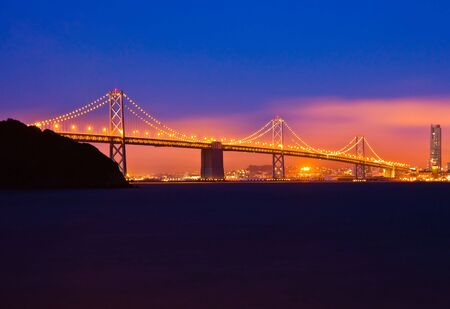 Bay Bridge after sunset in San Francisco