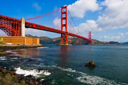 Golden Gate Bridge with cloudy sky photo