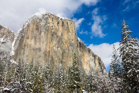 El Capitan in the winter in Yosemite photo