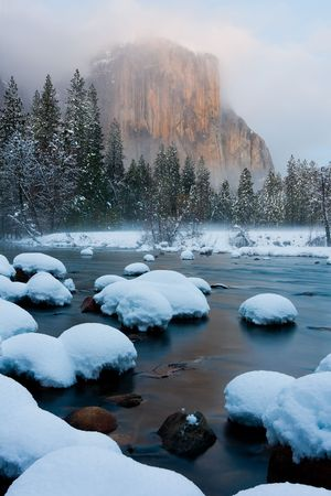 Yosemite Valley after sunset in winter photo