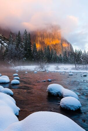 Yosemite Valley at sunset in winter photo