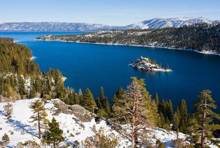 Emerald Bay in winter, Lake Tahoe Stock Photo