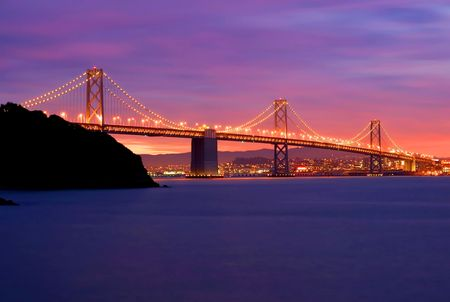 Bay Bridge after sunset in San Francisco photo