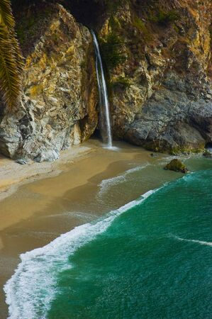 sur:   McWay Falls at Big Sur, California Stock Photo