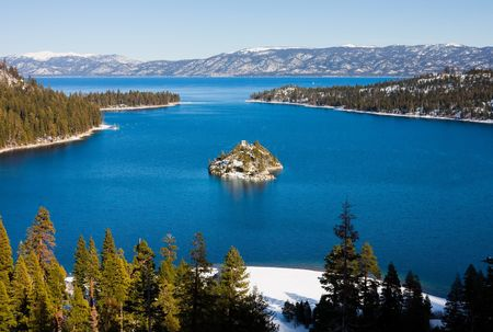 nevada:  Emerald Bay in winter, Lake Tahoe